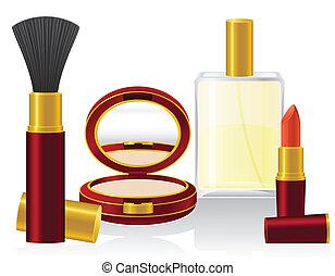 vektor, sæt, kosmetikker, illustration