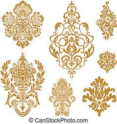 vektor, sæt, ornamentere, guld, damask