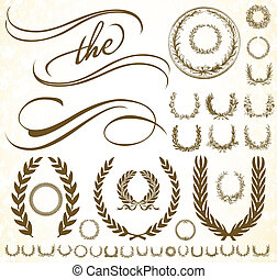 vektor, sæt, ornamentere, krans