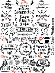 vektor, sæt, overlays, bryllup