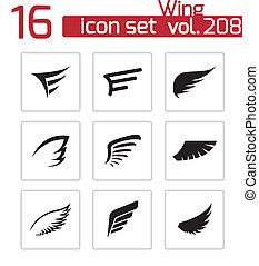 vektor, sæt, sort, vinge, iconerne