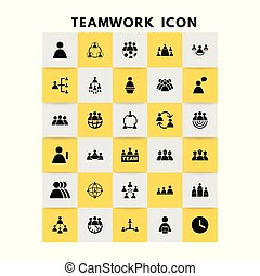 vektor, sæt, teamwork, iconerne