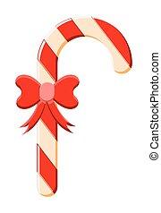 vektor, sétabot, karácsony, cukorka