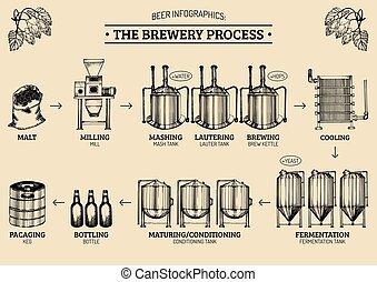 vektor, sör, sörfőzde, process., ábra, infographics
