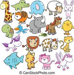 vektor, söt, elementara, design, djur