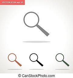 vektor, søgen, hvid, ikon, isoleret, baggrund