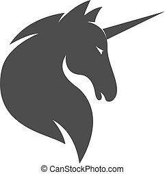 vektor, sablon, vagy, jel, ló, egyszarvú
