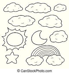 vektor, sachen, satz, himmelsgewölbe