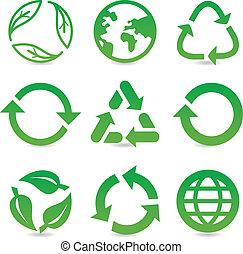 vektor, samling, hos, genbrug, tegn, og, symboler