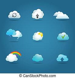 vektor, samling, sky, iconerne