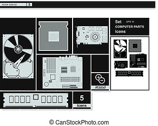 vektor, sammlung, icons., computerhardware, icons.