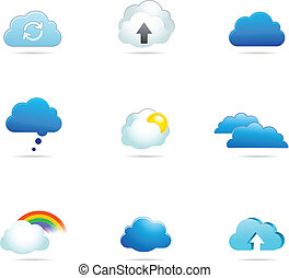 vektor, sammlung, wolke, heiligenbilder