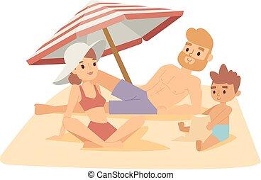 vektor, sandstrand, illustration., familie
