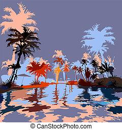 vektor, sandstrand, illustration., tropen