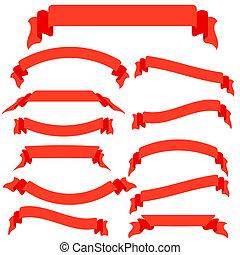 vektor, satz, abbildung, banner, bänder, rotes