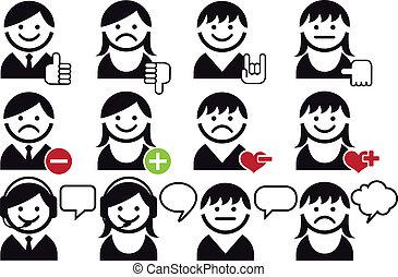 vektor, satz, avatar, ikone