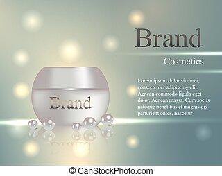 vektor, satz, banner, realistisch, light., delikat, krug, 3d, flecke, perle, strahlen, design, kosmetikartikel, hintergrund, werbung, katalog, creme