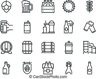 vektor, satz, becher, 48x48, buechse, beer., ander., editable, icons., schließt, perfect., stroke., solch, flasche, pixel, fass, grobdarstellung