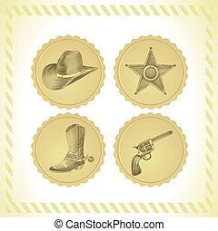 vektor, satz, cowboy, ikone