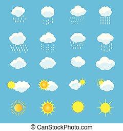 vektor, satz, heiligenbilder, regen, wetter, sonne, wolke