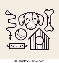 vektor, satz, hund