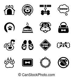 vektor, satz, hunde ikone