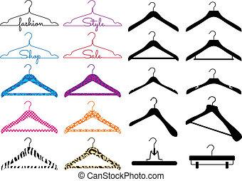 vektor, satz, kleiderbügel, kleidung