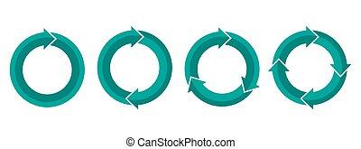 vektor, satz, kreisförmig, illustration., arrows.