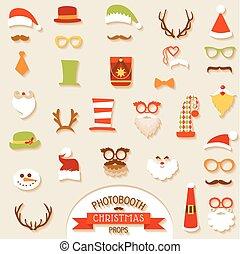 vektor, satz, -, lippen, brille, masken, weihnachtshüte, stand, schnurrbärte, foto, party, design, retro