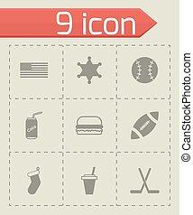 vektor, satz, usa, ikone