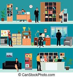 vektor, satz, von, büro- innere, banner, in, wohnung, stil, design., geschäftsmenschen, und, finanz, workers., firma, empfangszimmer