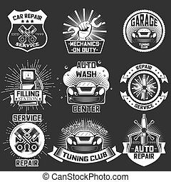 vektor, satz, von, jahrgangsauto, service, etiketten, abzeichen