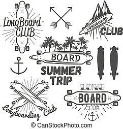vektor, satz, von, longboard, skateboard, embleme, etiketten, badges., skateboardfahren, begriff, abbildung