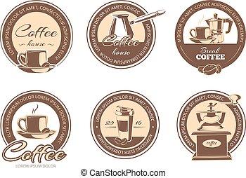 vektor, satz, von, monochrom, bohnenkaffee, embleme, etiketten, abzeichen, logos.