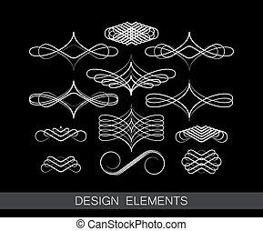 vektor, satz, von, säumen art, dekorative elemente, für,...