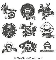vektor, satz, von, service, etiketten, in, weinlese, style., auto- reparatur, laden, banners., mechaniker, werkzeuge, freigestellt, weiß, hintergrund.