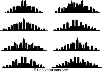 vektor, satz, von, stadt skyline, grafik