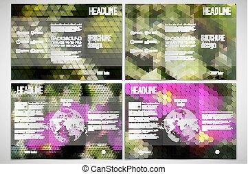 vektor, satz, von, tri-fold, broschüre, design, schablone, auf, beide, seiten, mit, welt globus, element., rosa blüten, in, der, grass., abstrakt, mehrfarbig, backgrounds., natürlich, geometrisch, patterns., dreieckig, und, sechseckig, stil