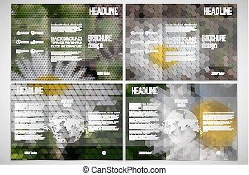vektor, satz, von, tri-fold, broschüre, design, schablone, auf, beide, seiten, mit, welt globus, element., weisse blumen, in, der, grass., abstrakt, mehrfarbig, backgrounds., natürlich, geometrisch, patterns., dreieckig, und, sechseckig, stil