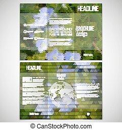 vektor, satz, von, tri-fold, broschüre, design, schablone, auf, beide, sides., blaue blumen, in, der, grass., abstrakt, mehrfarbig, backgrounds., natürlich, geometrisch, patterns., dreieckig, stil