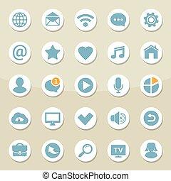 vektor, satz, von, universal, webikon, für, medien, kommunikation, kontakt, beweglich, und, sozial, vernetzung