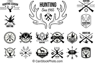 vektor, satz, von, weinlese, embleme, für, jagen, club., original, monochrom, etiketten, mit, silhouetten, von, hunden, guns/rifles, gans, und, köpfe, von, hirsch