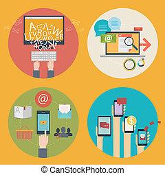 vektor, satz, von, wohnung, design, begriff abbilder, für, blogging, netz- design, seo, sozial, media., geschäftskonzepte, -, on-line einkäufe, bildung, lernen, werbung, entwicklung, kommunikation, analytics, beweglich, dienstleistungen, und, apps