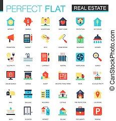 vektor, satz, von, wohnung, real estate, icons.