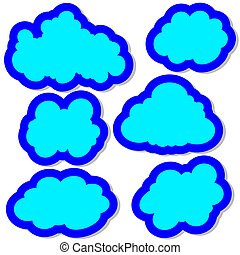 vektor, satz, wolkenhimmel, abbildung, sky.