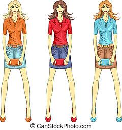 vektor, schöne , mode, mädels, oberseite, modelle