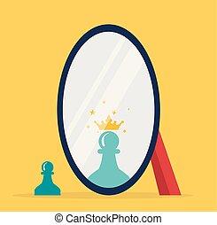 vektor, schach, begriff, reflexion, spiegel