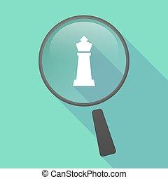 vektor, schach, vergrößerungsglas, ikone, figur, langer, schatten, koenig