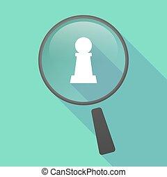 vektor, schach, vergrößerungsglas, ikone, figur, langer, schatten, pfand