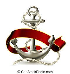 vektor, schiffsanker, emblem